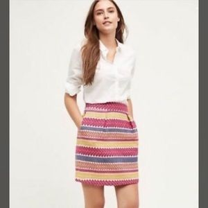 Anthropologie Striped Spring Jacquard Mini Skirt